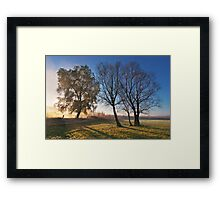 Beautiful autumn landscape at sunrise with fog Framed Print