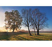 Beautiful autumn landscape at sunrise with fog Photographic Print