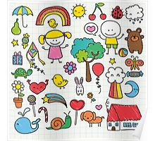 Cute Childrens Drawing Poster