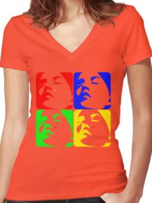 Technicolor Faces Women's Fitted V-Neck T-Shirt