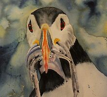 Puffin - anyone for fish? by sharonwhitley