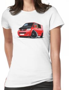 VW T5 (A) Red Womens Fitted T-Shirt