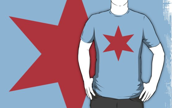 Chicago Flag Single Star by Chicago Tee