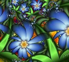 Blue Flowers in the Garden by wolfepaw