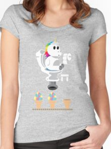 Rainbow Unicorn Ice Cream Women's Fitted Scoop T-Shirt