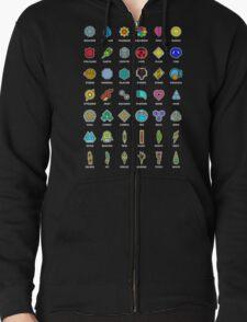 Pokemon Badges Zipped Hoodie
