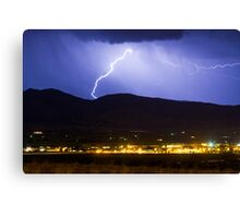 Lightning Striking Over IBM Boulder Canvas Print