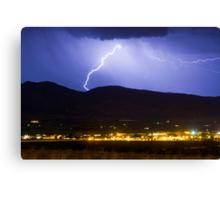 Lightning Striking Over IBM Boulder Canvas Print