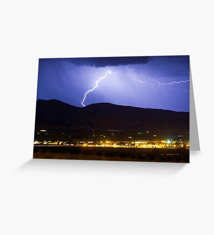 Lightning Striking Over IBM Boulder Greeting Card