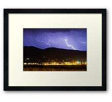 Lightning Striking Over IBM Boulder 2 Framed Print