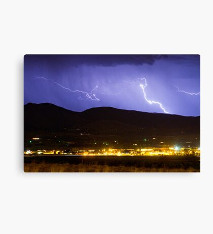 Lightning Striking Over IBM Boulder 2 Canvas Print