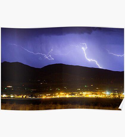 Lightning Striking Over IBM Boulder 2 Poster
