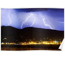 Lightning Striking Over IBM Boulder 3 Poster