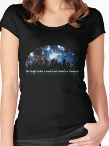 The Night hides a world but reveals a Universe Women's Fitted Scoop T-Shirt