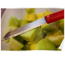 Macro photo of knife over bowl of cut musk melon Poster