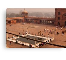 Inside Jama Masjid in the huge courtyard Canvas Print