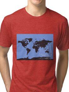 World map blue Tri-blend T-Shirt