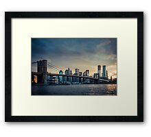 NYC skyline in the sunset - v1 Framed Print