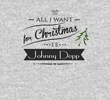 all i want for christmas is Johnny Depp Womens Fitted T-Shirt
