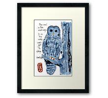 Barred Owl with Haiku Framed Print