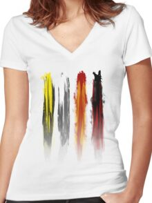 Four animals Women's Fitted V-Neck T-Shirt