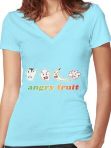 I Aurora - Angry Fruit... Women's Fitted V-Neck T-Shirt