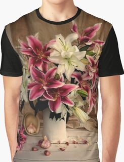 Pink and White Lilies with Garlic Still Life Graphic T-Shirt
