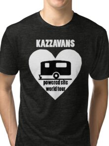Kazzavans white with black print Tri-blend T-Shirt