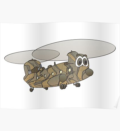 Chinook Helicopter Cartoon Poster