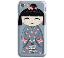 Pink butterfly kokeshi iPhone Case/Skin
