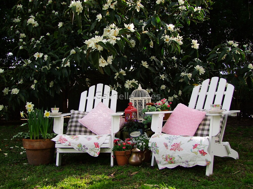 Afternoon Tea Under The Magnolia Tree by Gabrielle  Lees