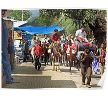 People on horseback and on foot making the climb to the Vaishno Devi Shrine in India Poster