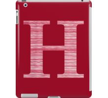 Letter H Red Watercolor Stripes Initial Monogram iPad Case/Skin