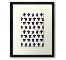 """Cherry on Pup"" Black Pug Cake Pattern Framed Print"