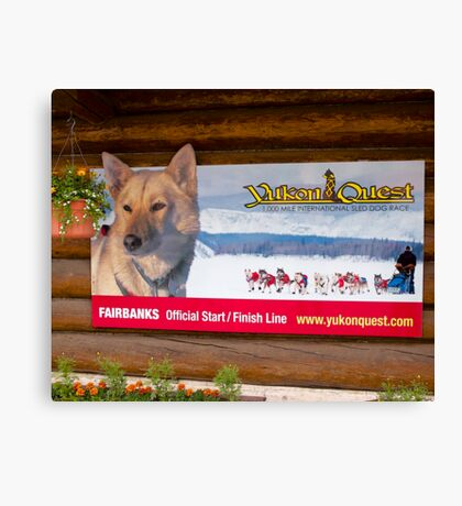 Sign, Sled dog race, Fairbanks, Alaska, 2012. Canvas Print