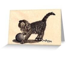 "The Tabby Kitten ""Webby"" playing Greeting Card"