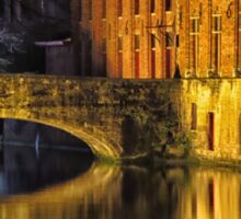 Night time reflections in Bruges Sticker