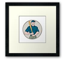 Baseball Player Batter Holding Bat Etching Framed Print