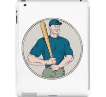 Baseball Player Batter Holding Bat Etching iPad Case/Skin