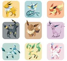 Collection of Eeveelutions by Jemma Richmond