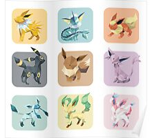 Origami Eeveelutions in Squares Poster