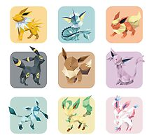 Origami Eeveelutions in Squares Photographic Print