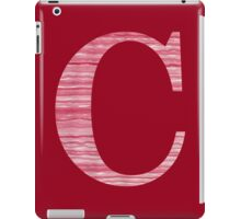 Letter C Red Watercolor Stripes Initial Monogram iPad Case/Skin