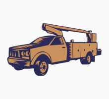 Cherry Picker Mobile Lift Truck Woodcut by patrimonio