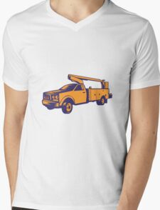 Cherry Picker Mobile Lift Truck Woodcut Mens V-Neck T-Shirt