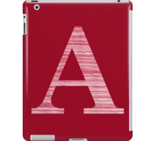 Letter A Red Watercolor Stripes Initial Monogram iPad Case/Skin