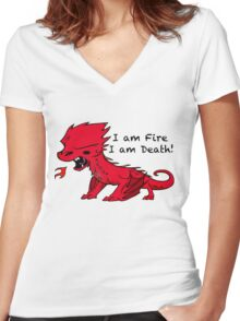 Baby Smaug - I am Fire, I am Death Women's Fitted V-Neck T-Shirt