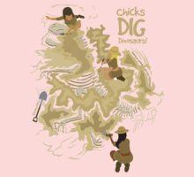 Chicks Dig Dinosaurs Kids Tee