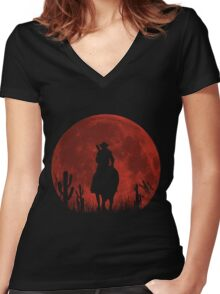 Lonesome Cowboy (v2) Women's Fitted V-Neck T-Shirt