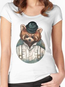 Cute Red Panda in Bowler hat Women's Fitted Scoop T-Shirt